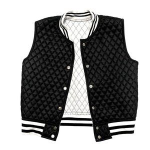 Reversible B&W Varsity Style Quilted Vest